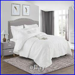 100%Brushed Cotton Duvet Cover Set Quilted Bedspread Bed Throw Double King Size