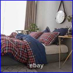 100% Cotton Yarn Dyed Red Flannel Twin Full Queen King Duvet Cover Comforter Set