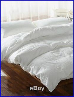 100% PURE LINEN PEARL WHITE Bedding SET Quilt Duvet Cover Bedding (100% FLAX)