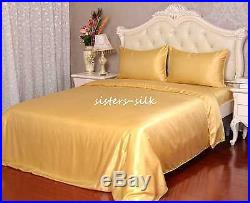 100% Pure Silk Duvet Cover Pillowcases Set Size Double 19 Momme Seamless Gold