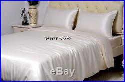 100% Pure Silk Duvet Cover Sheets Set Size Double 16 19 22 Momme Seamless Ivory