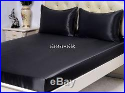 100% Silk Duvet Cover Pillowcase Set Size Small Double 19 Momme Seamless Black