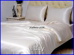 100% Silk Duvet Cover Sheets Set Size Small Double 16 19 22 Momme Seamless Ivory