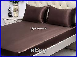 100% Silk Duvet Cover Sheets Set Size Small Double 19 Momme Seamless Brown