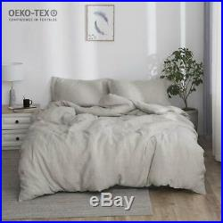100% Stone Washed Linen Basic Style Fashion Quilt Flax Duvet Cover Set Double