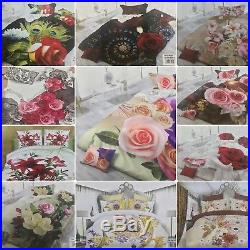 10x Job Lot Wholesale Double Duvet Cover Floral 3D Full bed Sets & Fitted Sheet