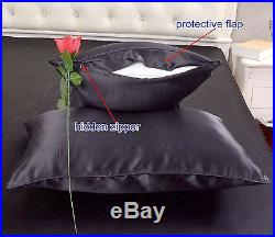 16 Momme 100% Pure Silk Duvet Cover Sheet Pillow Case Seamed Black All Size