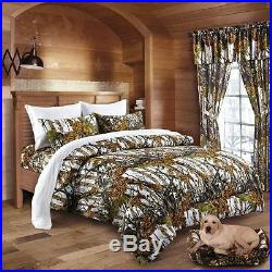 17 Pc White Camo Full Size Set Snow Comforter Sheet Curtain Camouflage Bedding