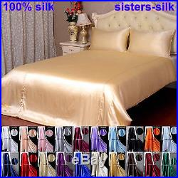 19Momme 100% Pure Silk Duvet Cover Fitted Flat Sheet Pillow Case & Set All Size