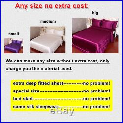 19-40mm 100% Real Mulberrry Silk Duvet Cover Sheets Pillowcase & Bed Linens Set