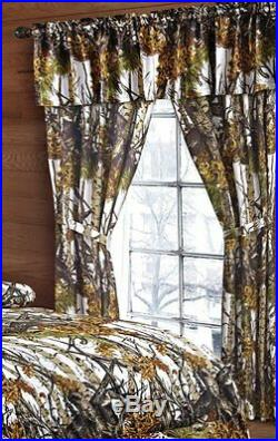 22 PC! WHITE CAMO FULL SIZE SNOW COMFORTER SHEETS With 3 CURTAIN SETS CAMOUFLAGE