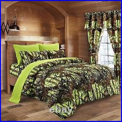 22 Pc Lime Camo Full Size! Bedding Set Comforter Sheet Camouflage Curtains Neon