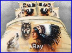 3D Feather Native American Indian Wolf Twin Full Queen King Duvet Comforter Set