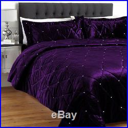 3 PC Small Double Purple Crystal Quilted Velvet Duvet Cover Set / Quilt Cover
