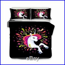 3pc. 4pc. 3D Unicorn Multicolored US Twin Full Queen King Duvet Comforter Set