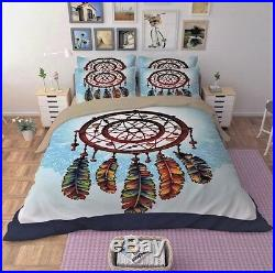 3pc. 4pc. Cotton Feather Print Dream Catcher Style Twin Full Queen Comforter Set