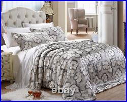 3pc. Luxury Silver Magnolia Floral Mulberry Silk Full Queen King Duvet Cover Set