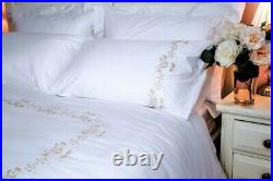 400 Thread Count Luxury Hand Embroidered Cotton Sateen Double Duvet Cover Set