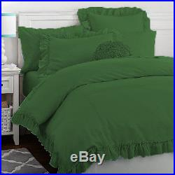 4PC 18p Cotton Sateen S. Double Green Side Ruffle 1800TC Duvet Cover Set
