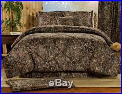 4pc Brown Bark Based Camouflage Design Soft Suede Touch Comforter Set Full