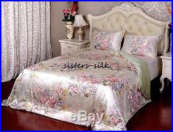 4pcs 16mm 100% Pure Silk Duvet Cover Fitted Sheet Pillow Case Set All Size