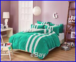 5PC 18D. Pkt Euro Double Green & White Striped Velvet Bedding Set / Duvet Cover