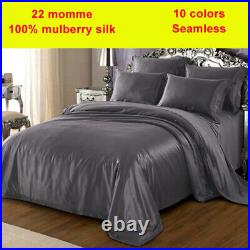 5pc 22mm 100% Silk Duvet Quilt Cover Fitted Sheet Flat Sheets Pillow Cases Set