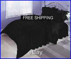 5pc euro double Black Velvet Quilted Duvet Cover Set With Polyfibre Filling