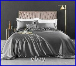 600 4pcs 100% Silk Duvet Set Includes Quilt Cover Fitted Sheet Pillowcases Red