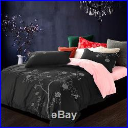 6PC 14 Euro Double Grey & Baby Pink Embroidered Egypt. Cotton Duvet Cover Set