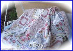 6pc Double Quilt Shams B/Skirt 2 Pillows Set Shabby Antique Rose Patchwork Chic