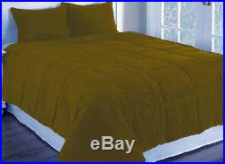 7PC 15Dk Goldenrod Euro Double Corduroy Quilted with PolyFiber Duvet Cover Set