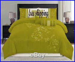 7PC 16'' Euro double Embroidery Floral Plants Tree olive duvet cover set