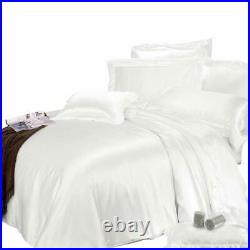 800 Thread Count Satin Silk Select Bedding Item UK Sizes White Solid Free Ship