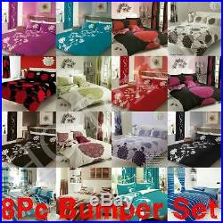 8PC Bumper Set New Duvet Cover & Pillow Cases, Fitted Sheet, Curtain, Double&King