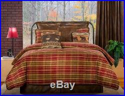 9pc Red/Olive Green/Tan/Brown Plaid Lodge Style Faux Leather Comforter Set Full