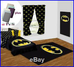 Batman Emblem Package Set Area Rug, Twin Size Comforter, Curtain & Towel with gift
