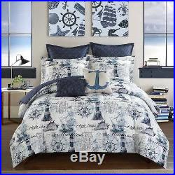 Beach Themed Bed Set Sailor Lighthouse Bedding Comforter Anchor 7 Pc Full Size
