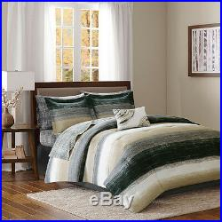 Beautiful Modern Chic Black Taupe Beige Art Abstract Grey Comforter Set & Sheets