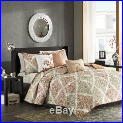 Beautiful Modern Chic Taupe White Orange Leaf Tropical Soft Quilt Set & Pillows