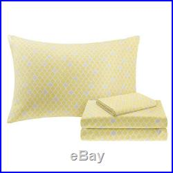 Beautiful Modern Flower Grey Silver Yellow Bed In Bag Comforter Set & Sheets