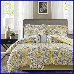 Beautiful Modern Tropical Exotic Bed In A Bag Yellow Grey Comforter Set & Sheets