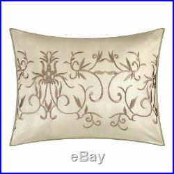 Beige Tan Floral Vines Embroidered 7pc Comforter Set Full Queen Cal King Bedding