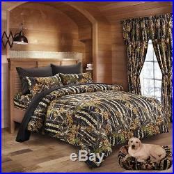 Black Camo Full Size 17 Pc! Comforter Sheets Pillowcases & Two Curtain Sets