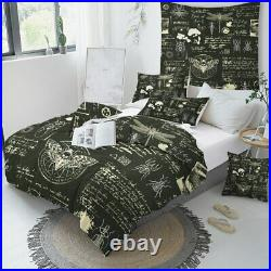Black White Insect Moth Beetle Double Single Quilt Duvet Pillow Cover Bed Set