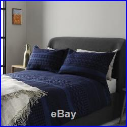 Blue Jacquard Double Duvet Cover Set Quality Luxury Bed Cover Bed Linen NEW