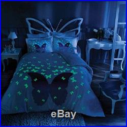Butterfly Bedding Duvet Cover Set, Glow In the Dark 100% Cotton Full Double 4Pcs