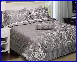 Carrington Pewter Silver Damask Bedspread Throw Duvet Cover Curtains Cushions