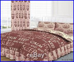 COMPLETE BED SET Duvet Cover Fitted Valance Pillowcases Brown Single And Double