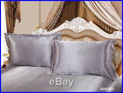 Carlty's Silk Duvet Set, Includes Quilt Cover Fitted Sheet Pillowcases
